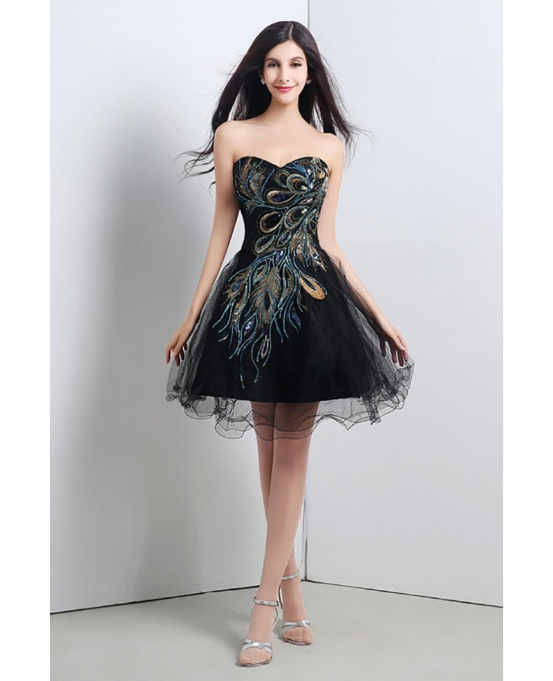 Special Black Short Embroidery Homecoming Dress For Juniors