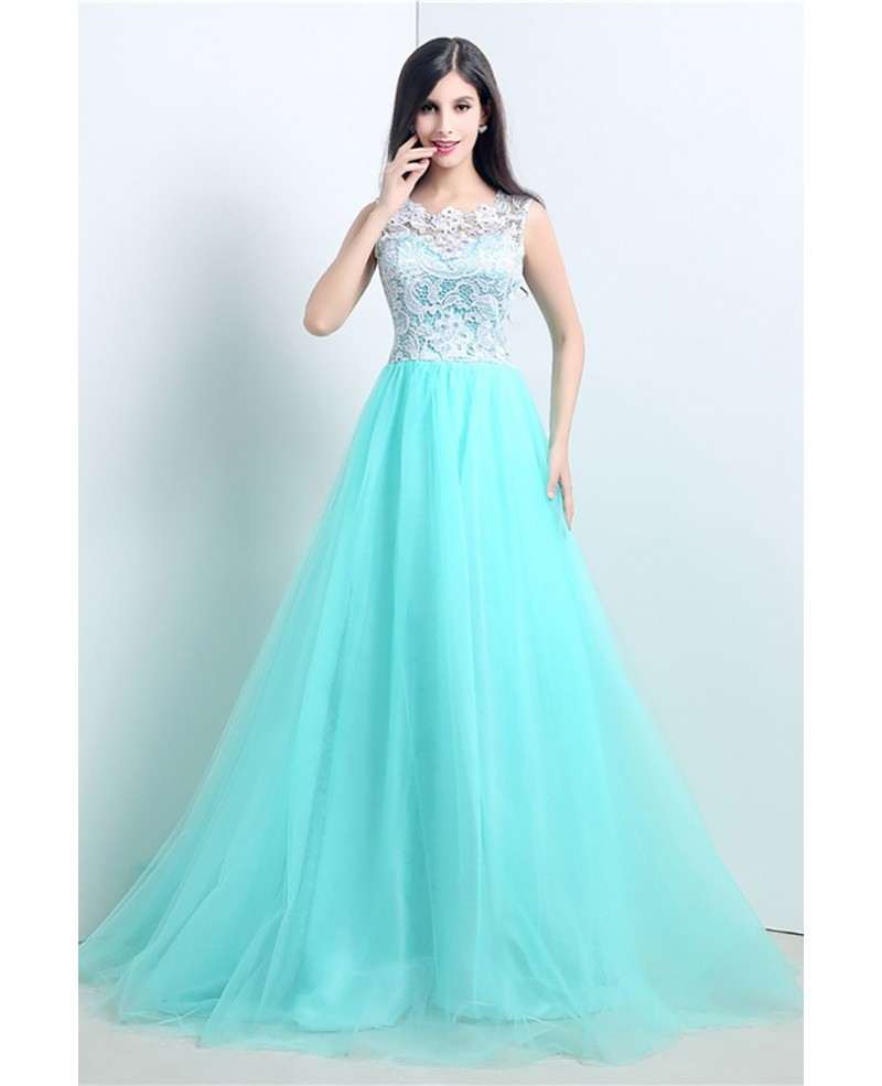 Graceful Ballroom Aqua Prom Dress Long With White Lace Bodice