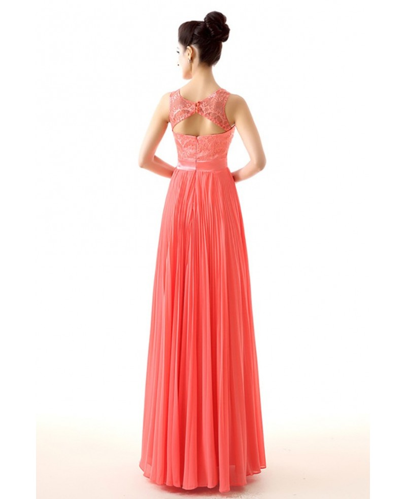 Flowy Chiffon A Line Watermelon Prom Dress With Lace Top