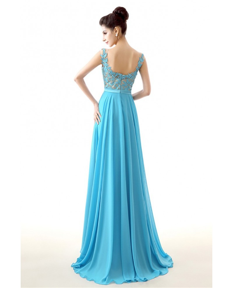 2018 Aqua Chiffon Prom Dress A Line Long With Lace Bodice