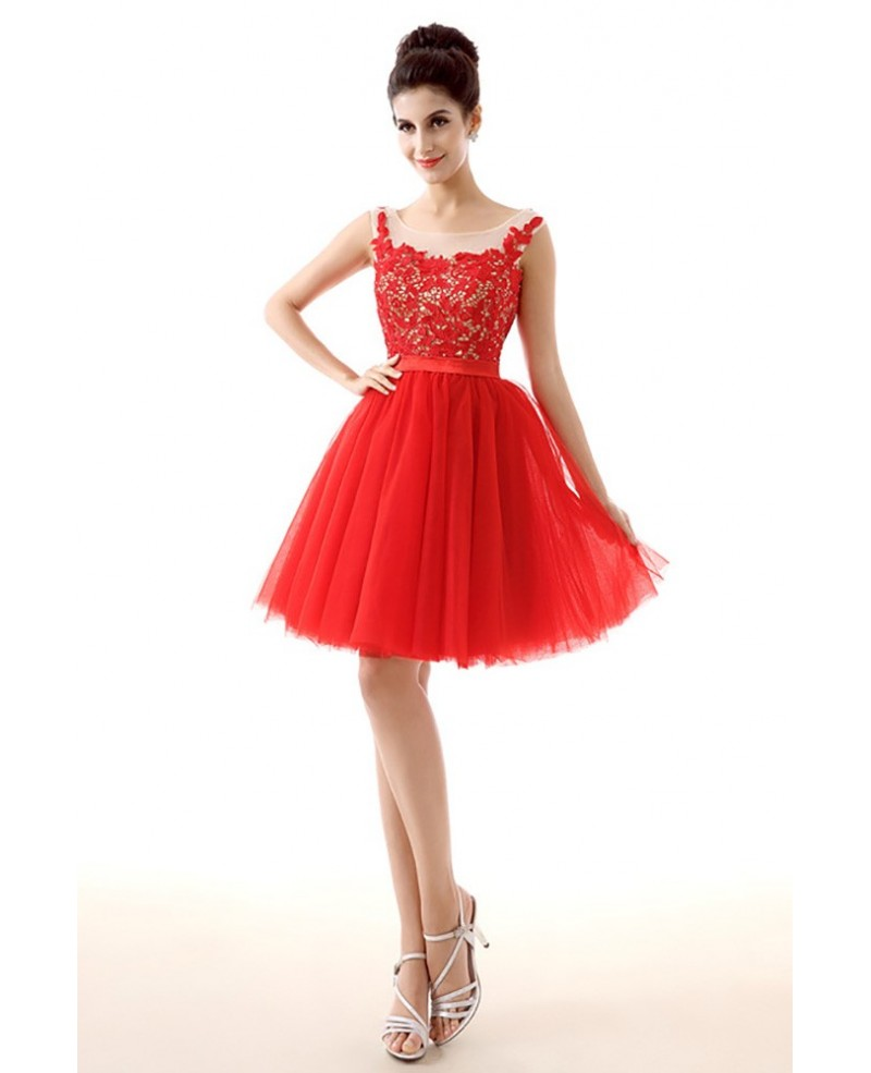 Unique Short Red Homecoming Prom Dress With Lace Beading Top