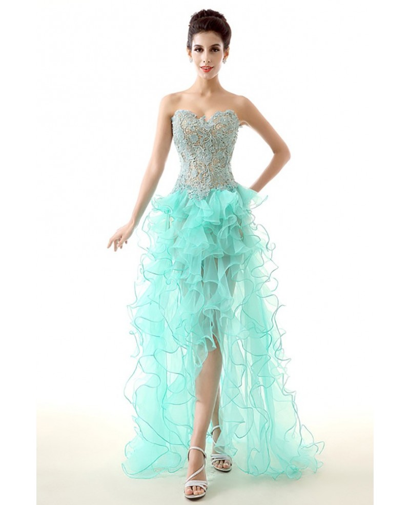 Unique High Low Ruffled Teal Prom Dress Sexy With Lace Bodice
