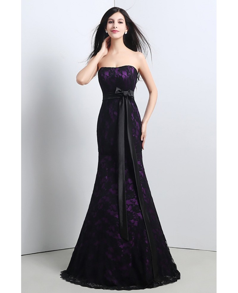 Strapless Trumpet Fitted Formal Dress All Lace Black And Purple