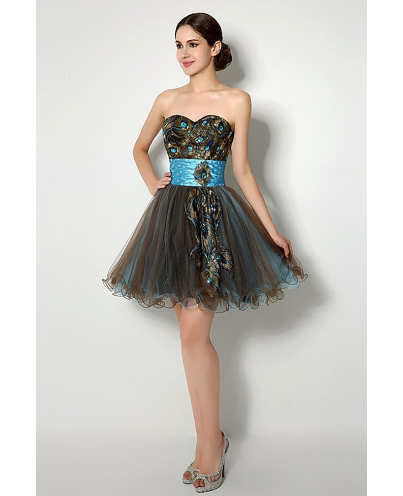 Unique Brown Aqua Hot Prom Dress Embroideried For Homecoming