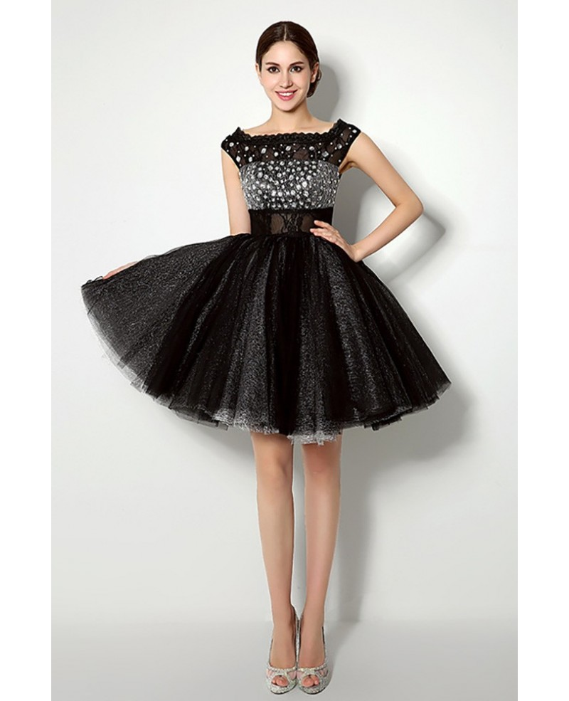 Cheap Sparkly Cocktail Black Homecoming Dress With Cap Straps
