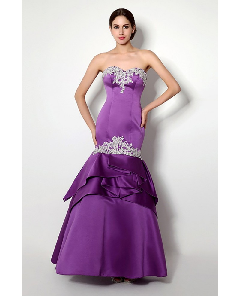 Fitted Trumpet Purple Formal Dress Backless With Beading Lace
