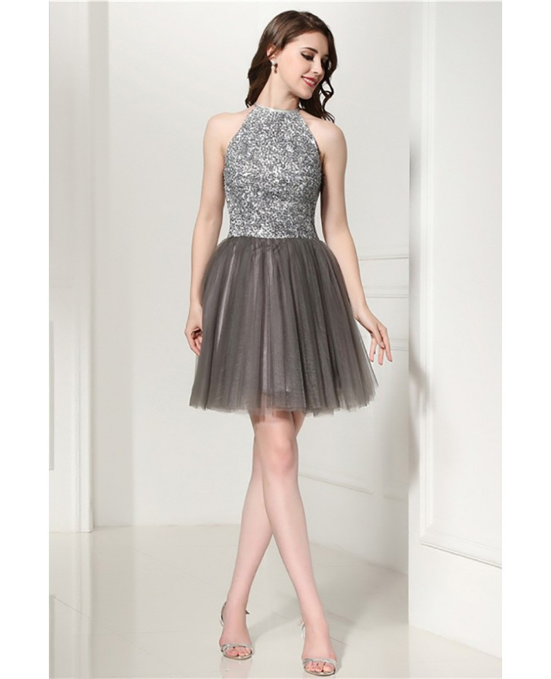 Grey Cocktail Halter Prom Dress With Beading Top For Homecoming