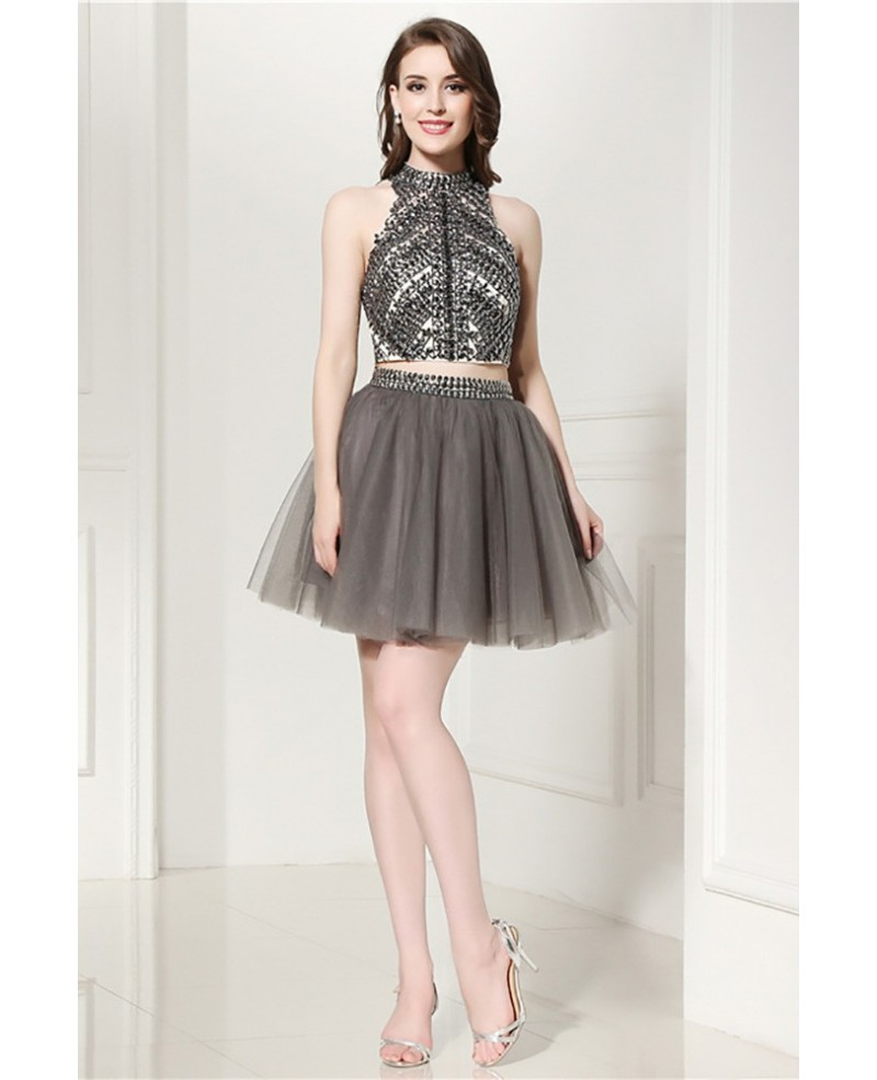 Sparkly 2 Piece Grey Short Formal Dress With Halter Crystal Crop Top