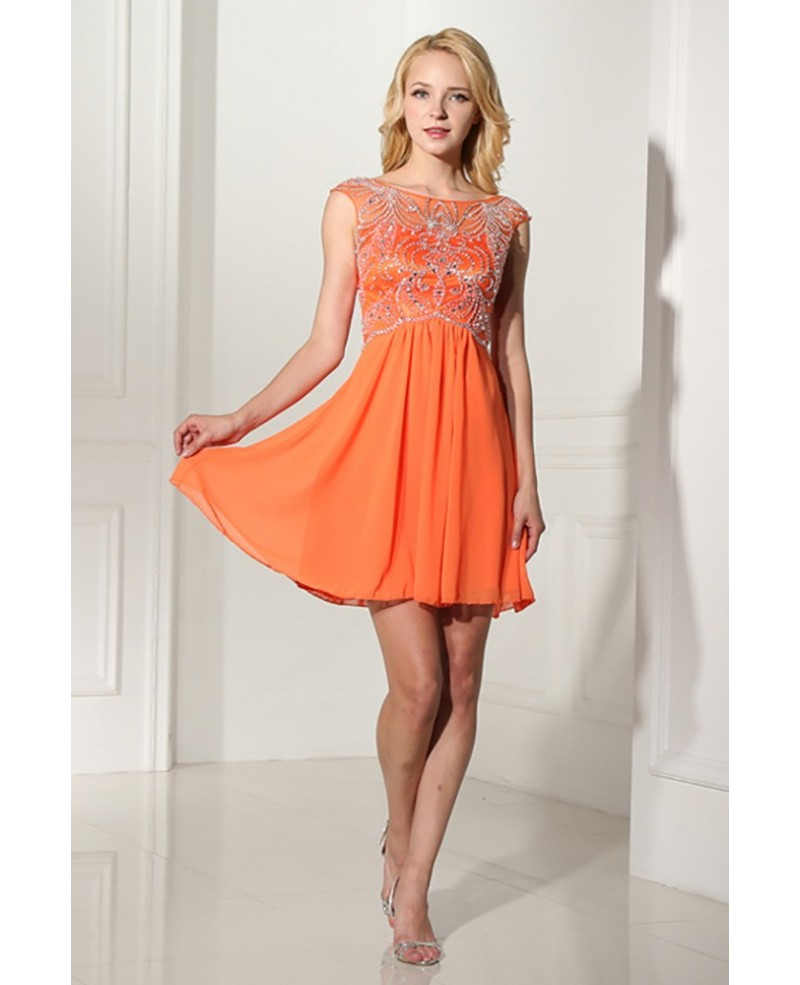 Modest Short Orange Graduation Dress With Beading Bodice