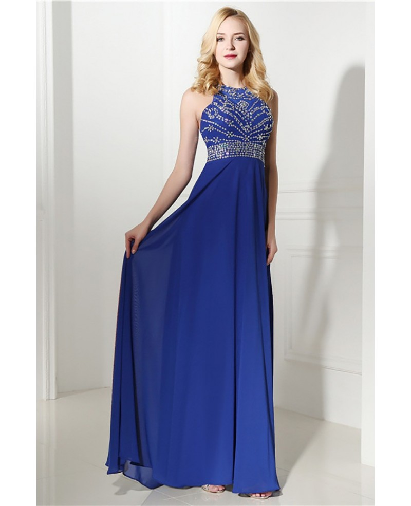 Royal Blue Long Halter Evening Dress Chiffon With Beading Top