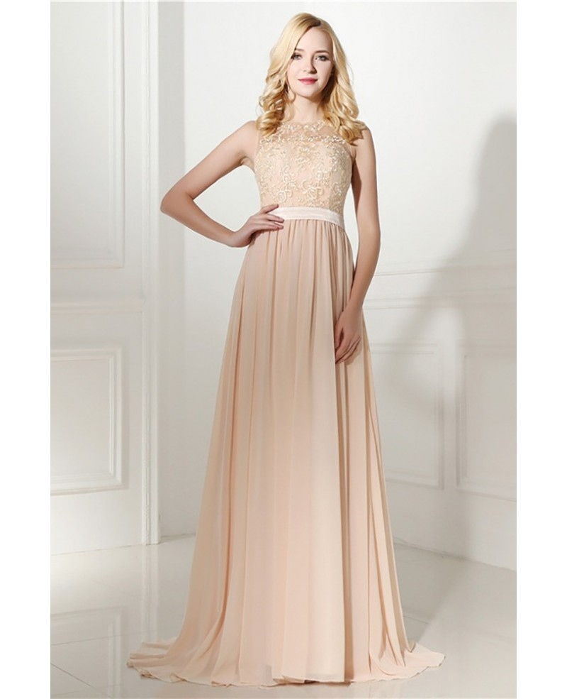 Elegant Long Chiffon Champagne Formal Evening Dress With Lace Bodice