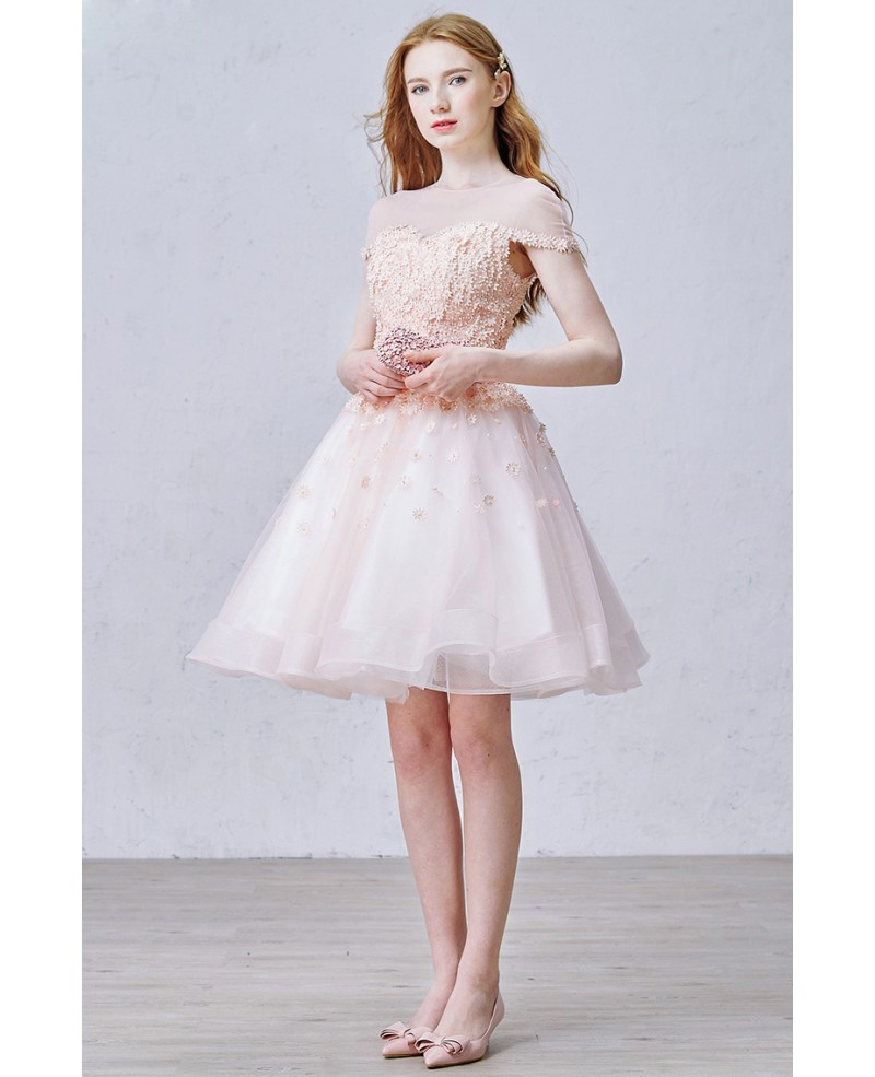 Lovely A-Line Scoop Neck Short Organza Dress With Flowers