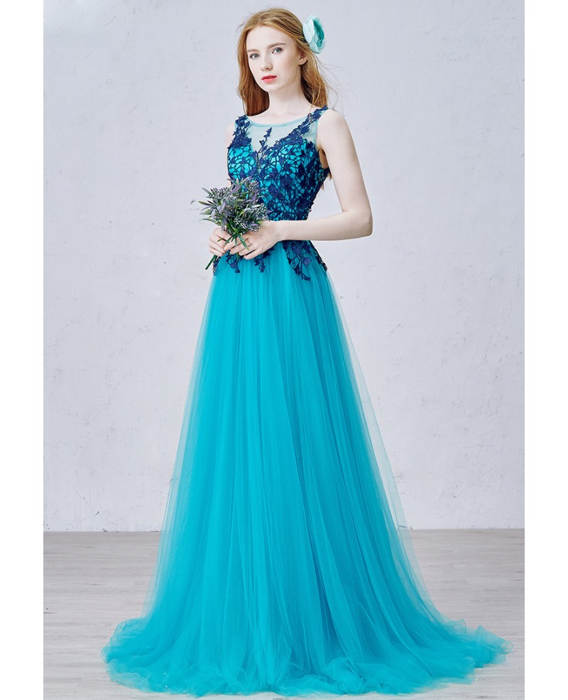 Romantic A-Line Scoop Neck Sweep Train Tulle Prom Dress With Appliques Lace