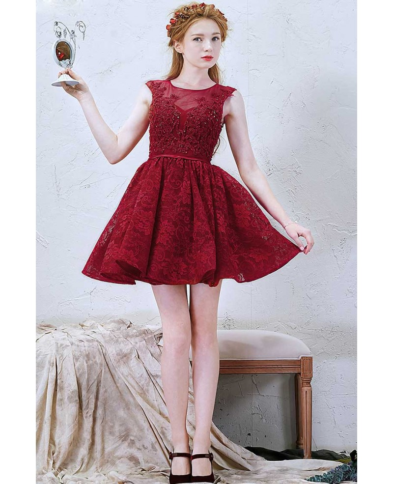 Chic A-Line Scoop Neck Short Lace Dress With Beading