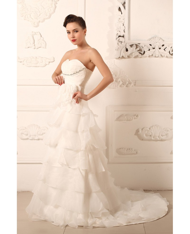 Ball-gown Sweetheart Sweep Train Organza Wedding Dress With Ruffle Beading