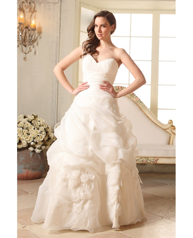 Ball-gown One-shoulder Floor-length Organza Wedding Dress With Cascading Ruffle