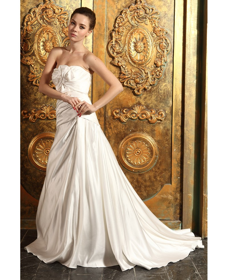 Ball-gown Strapless Sweep Train Satin Wedding Dress With Ruffle