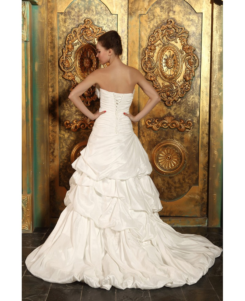 Ball-gown Strapless Court Train Satin Wedding Dress With Ruffle Flowers