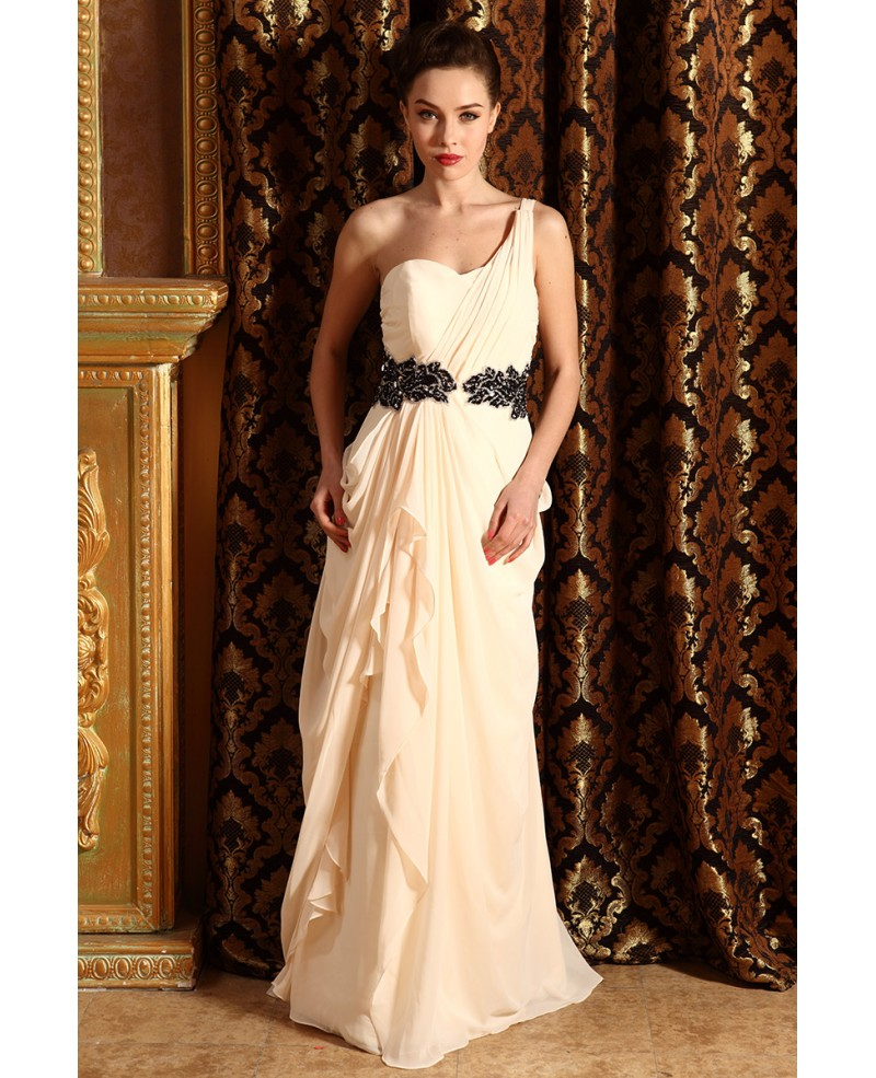 A-line One-shoulder Floor-length Chiffon Wedding Dress With Ruffle Beading