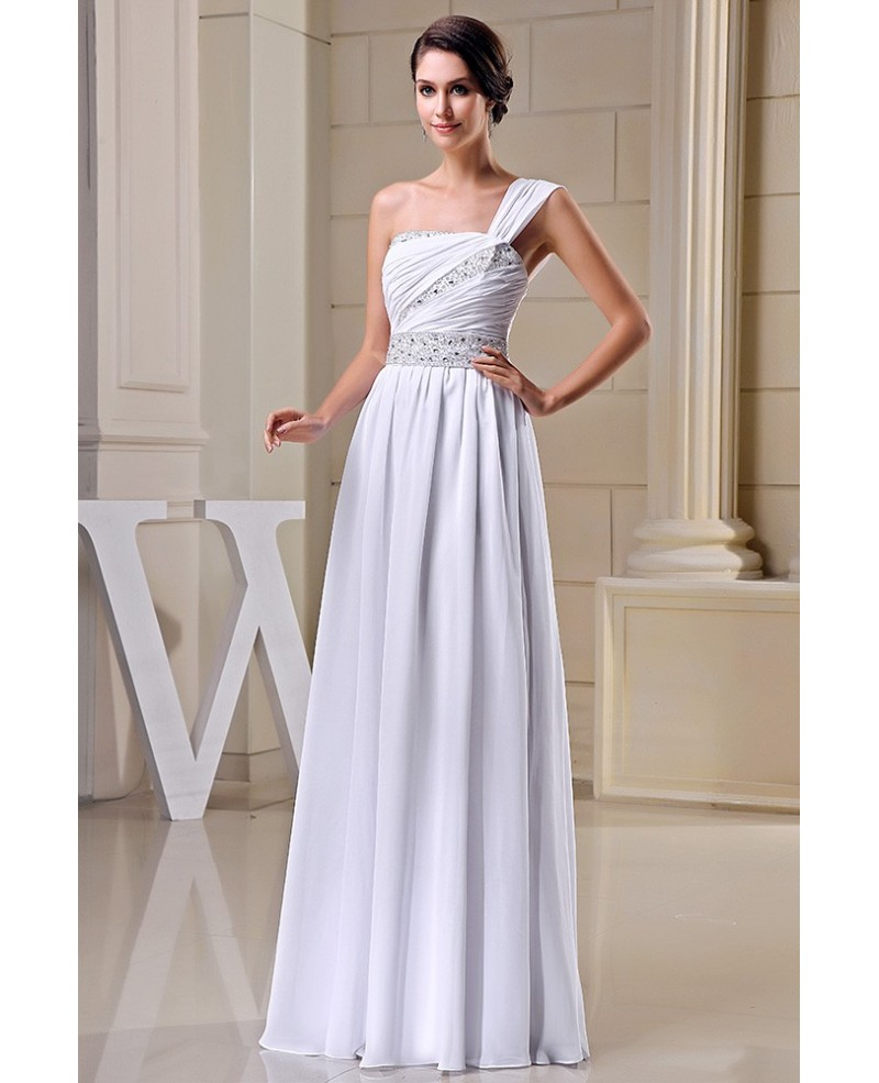 A-line One-shoulder Floor-length Chiffon Wedding Dress With Beading