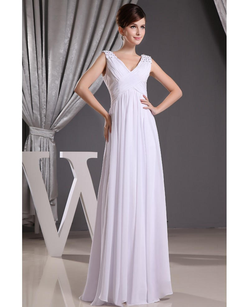 Empire V-neck Floor-length Chiffon Wedding Dress With Beading