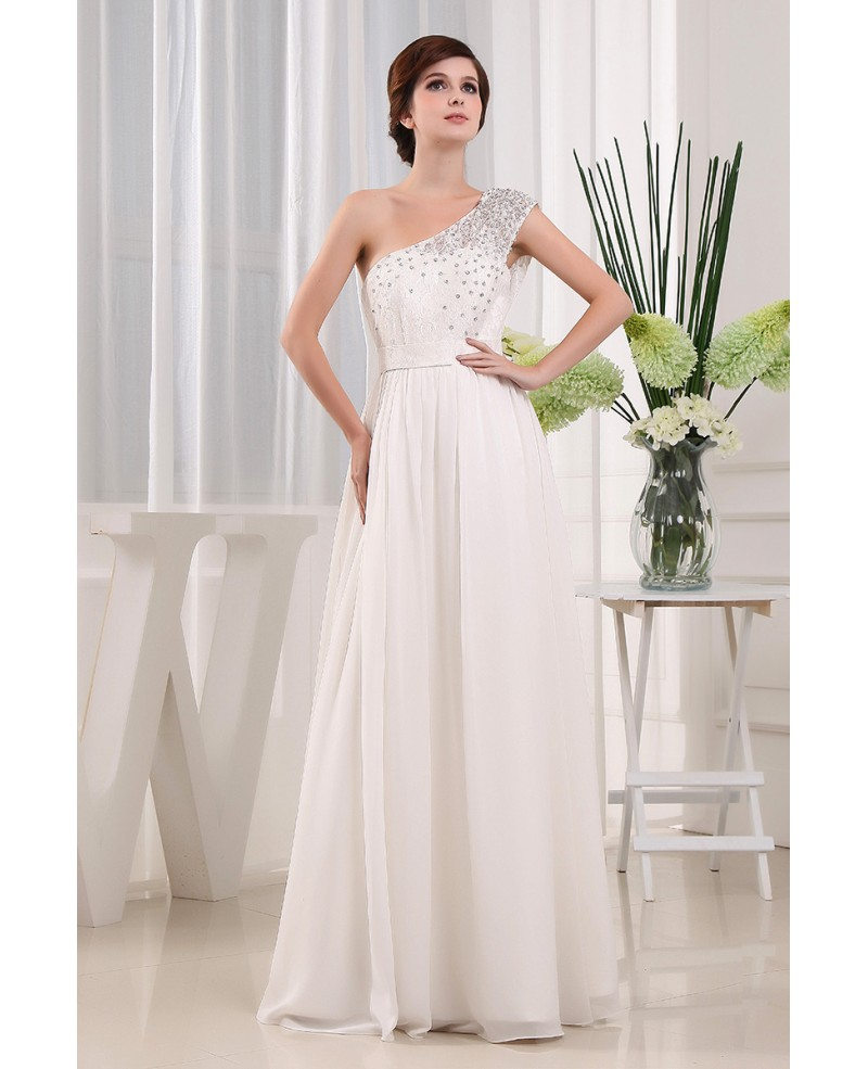 A-line One-shoulder Floor-length Wedding Dress With Beading