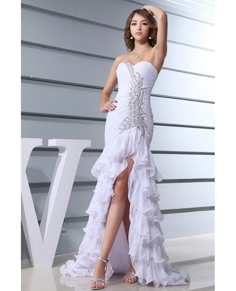 Mermaid Sweetheart Sweep Train Chiffon Wedding Dress With Beading