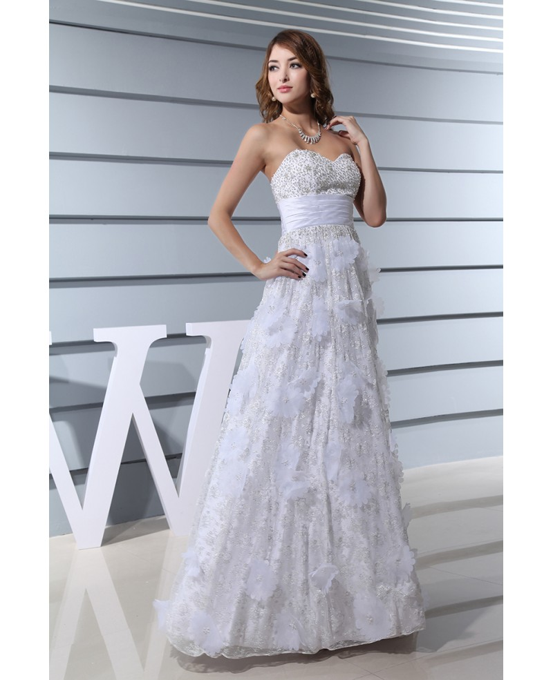 A-line Sweetheart Floor-length Lace Wedding Dress With Beading