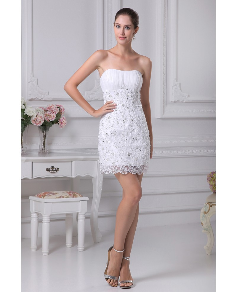 Sheath Strapless Short Satin Lace Wedding Dress With Beading