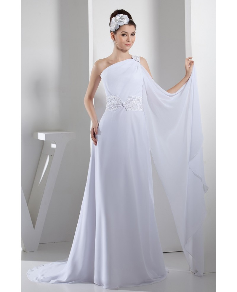 A-line One-shoulder SweepTrain Chiffon Wedding Dress With Beading