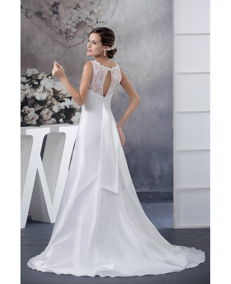 A-line Scoop Neck Court Train Satin Wedding Dress With Lace