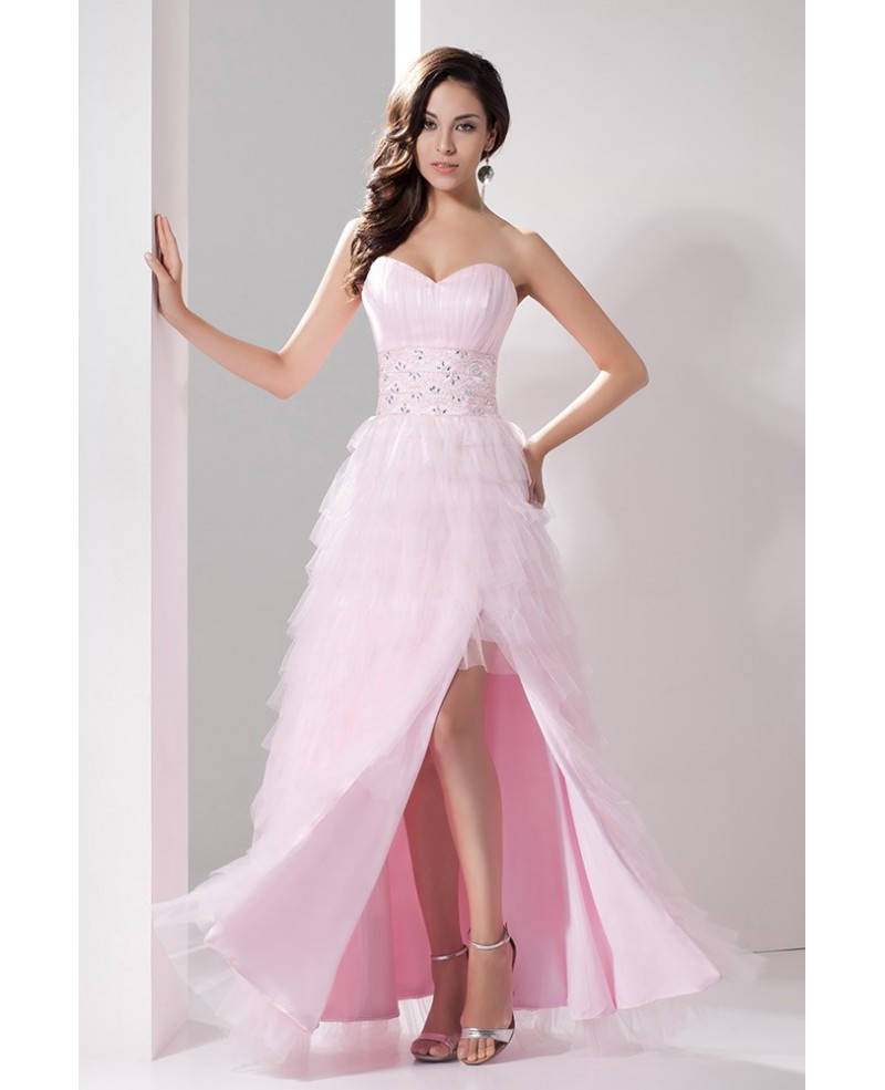 Cascading Ruffle Light Pink Sweetheart Tulle Satin Wedding Dress with Slit Front
