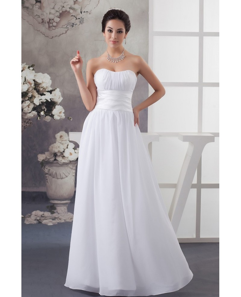 Simple White Chiffon Strapless Long Wedding Dress