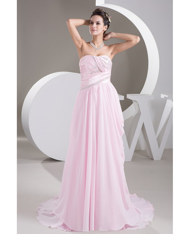 Blush Pink Sweep Train Chiffon Weddng Dress With Beading