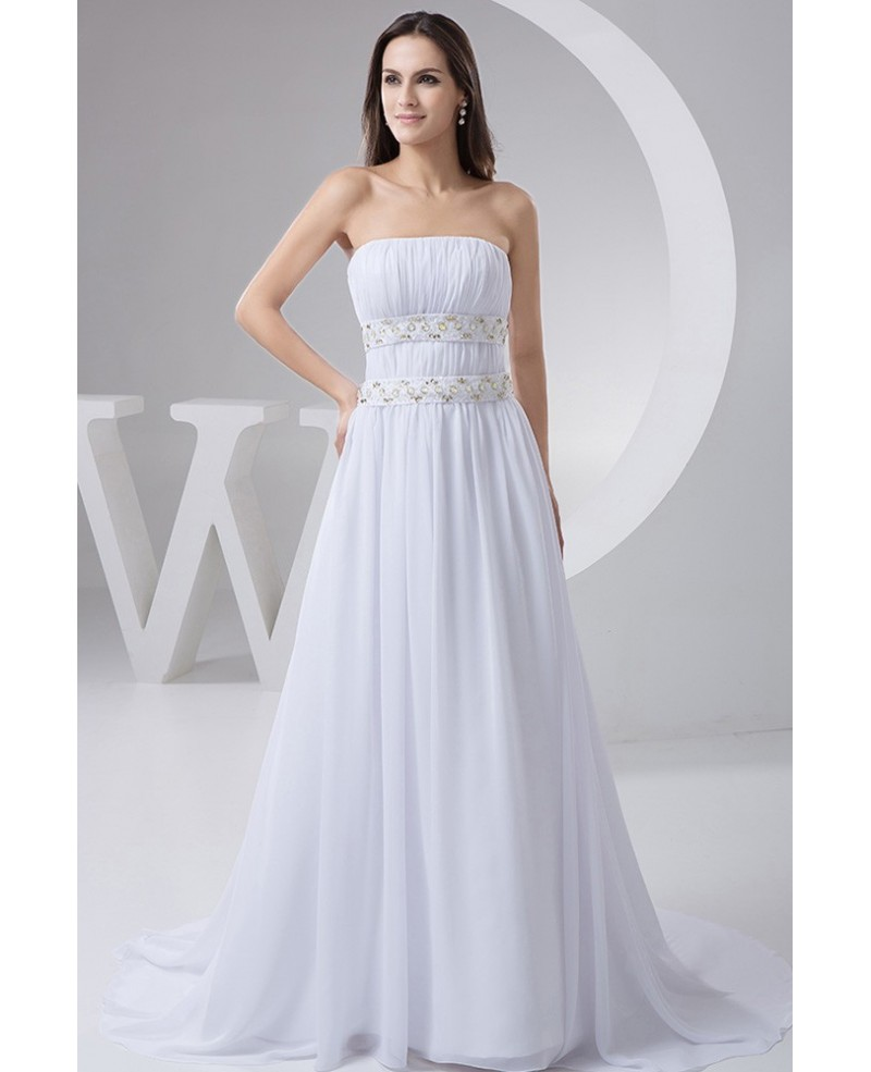 A-line Strapless Sweep Train Chiffon Wedding Dress With Beading