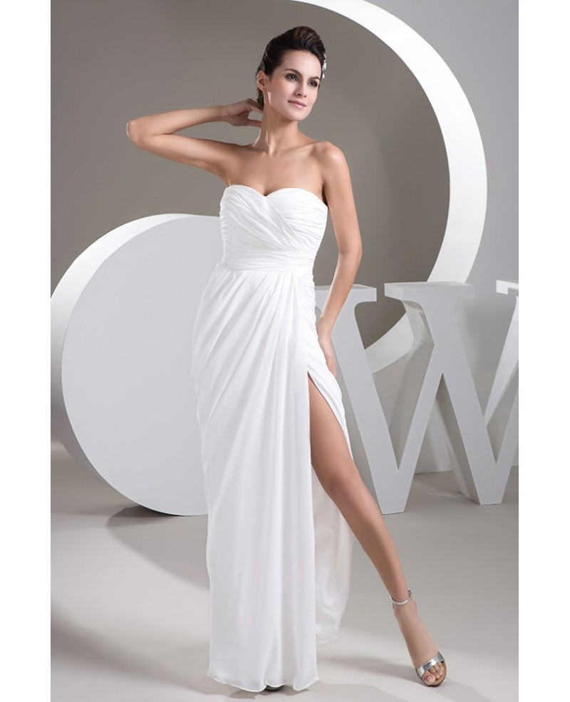 Simple White Long Slit Chiffon Beach Wedding Dress with Sweetheart Neck