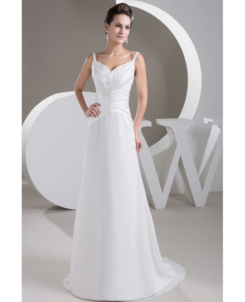 A-line V-neck Sweep Train Chiffon Wedding Dress With Beading