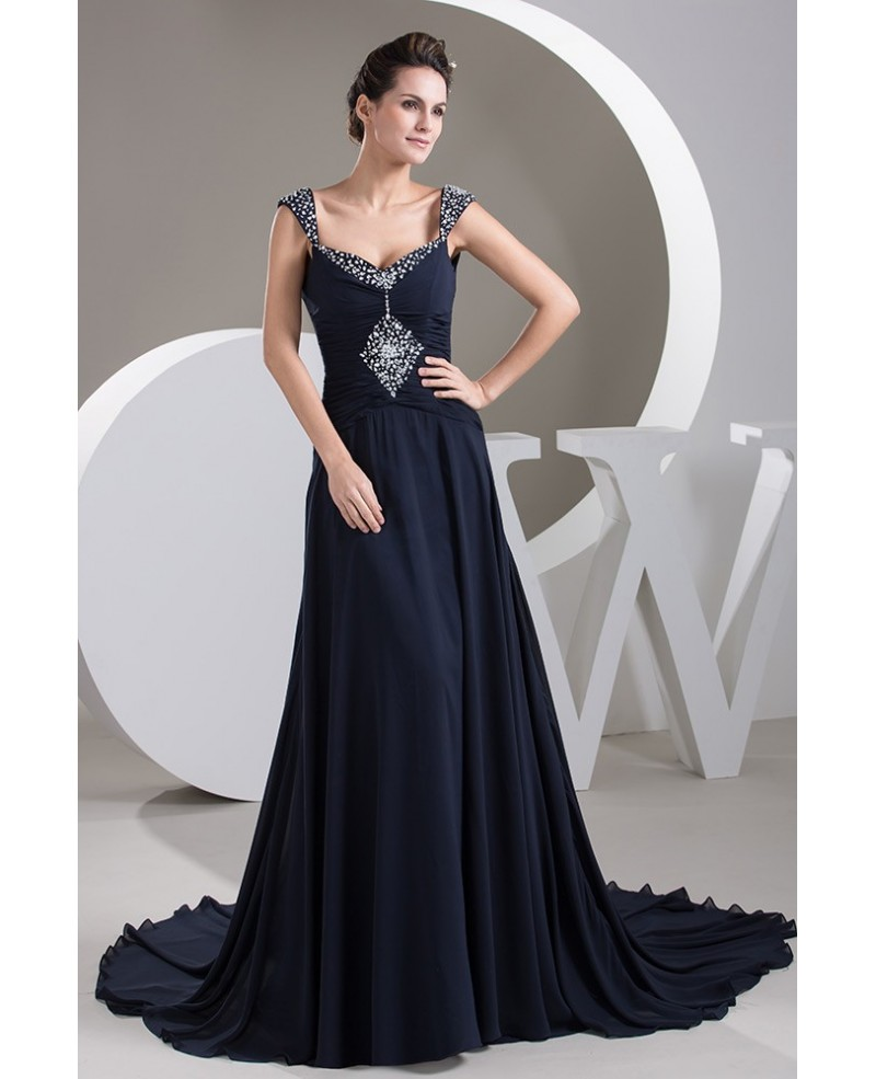 Dark Navy Long Train Pleated Chiffon Wedding Dress With Beaded Sweetheart Neckline