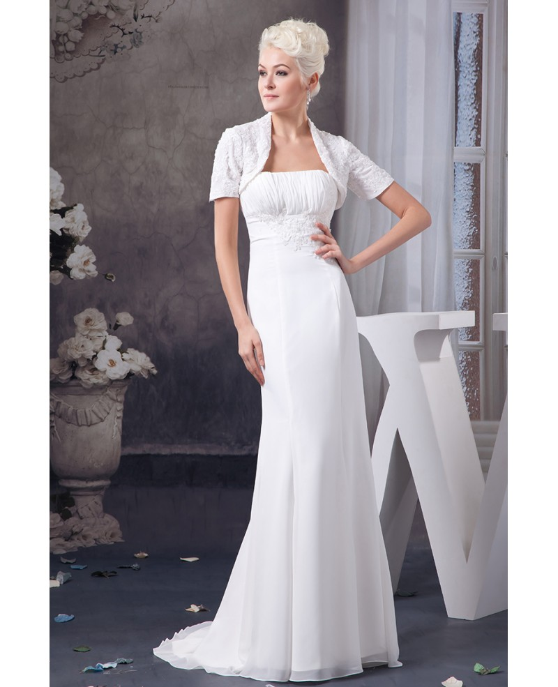 Sheath Strapless Sweep Train Chiffon Wedding Dress With Appliques Lace