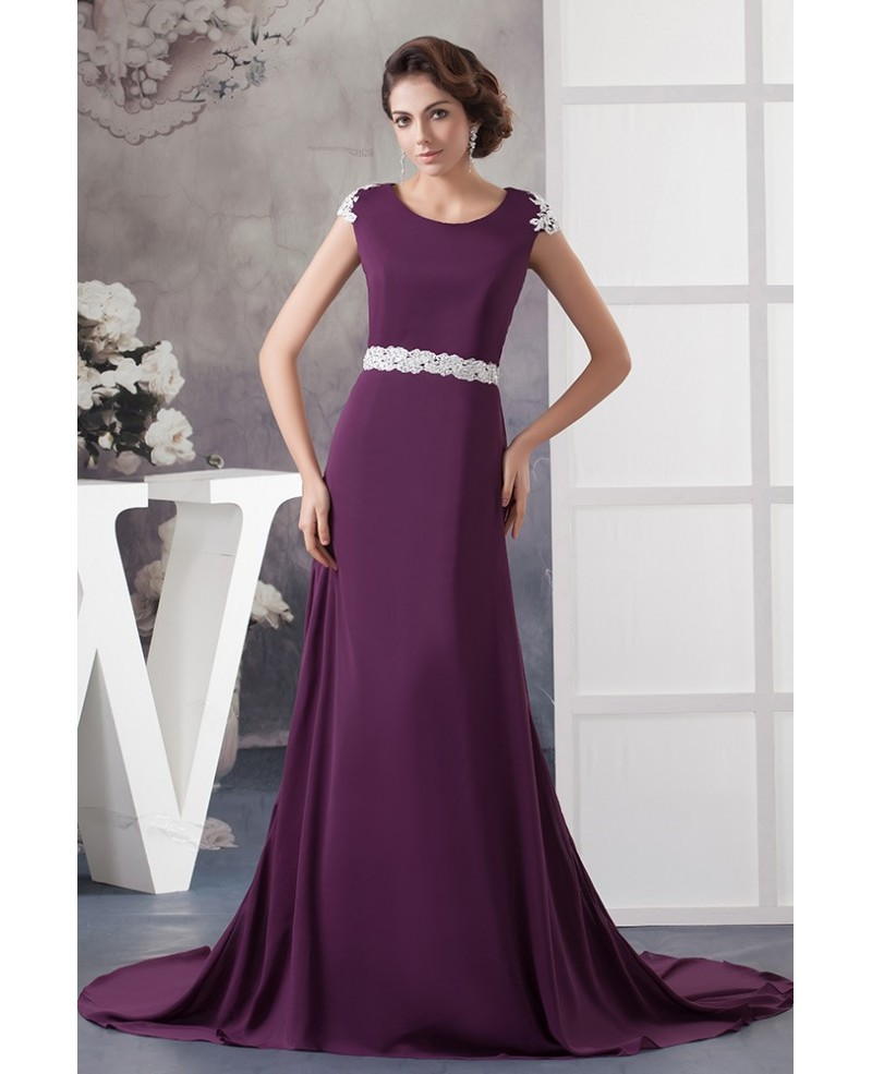 Long Purple with White Lace Chiffon Evening Dress With Train