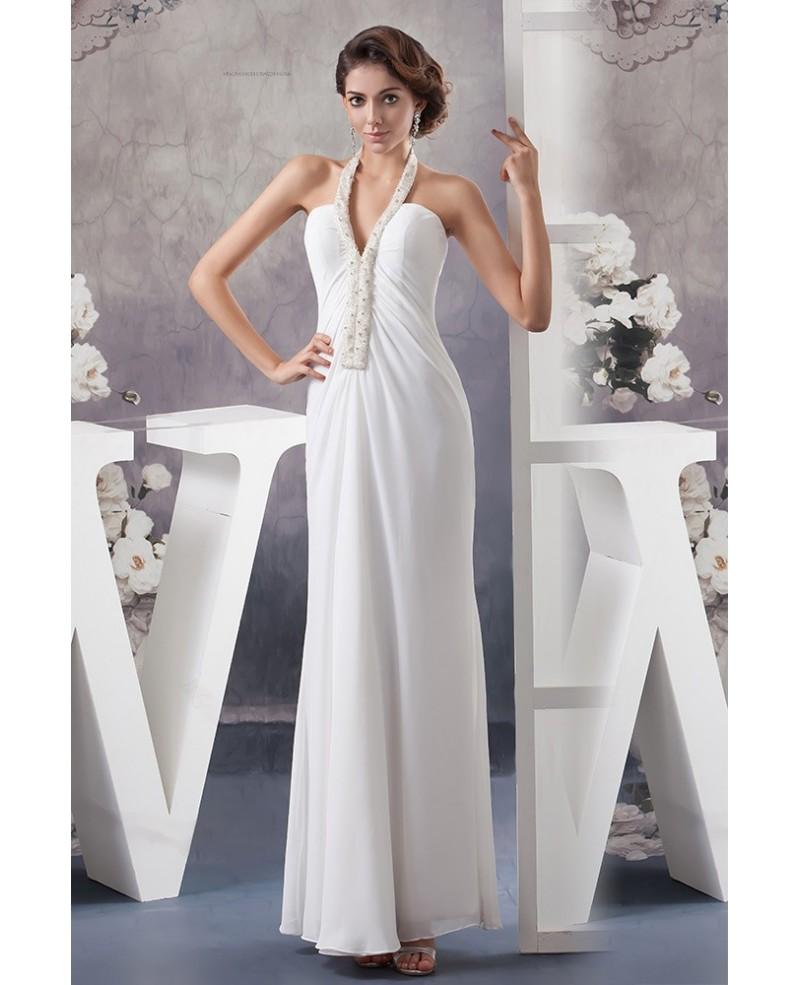Simple Chiffon Long Halter White Wedding Dress With Beading