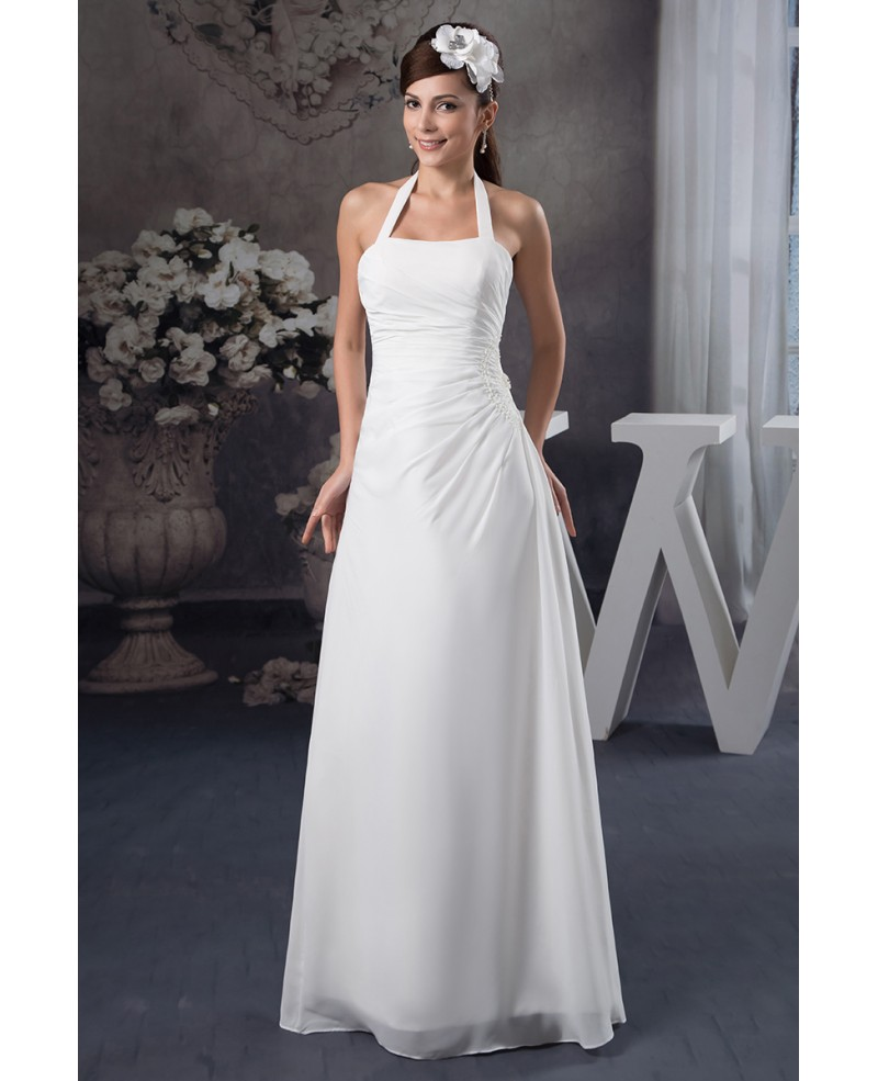A-line Halter Floor-length Chiffon Wedding Dress