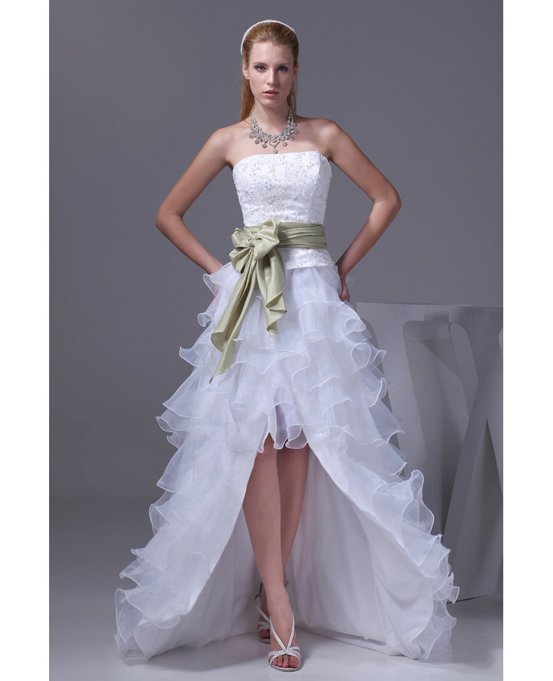 Aline Strapless Asymmetrical Ruffled Wedding Dress High Low with Sash