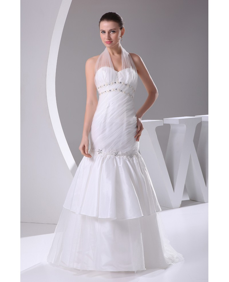 Long Halter Fitted Mermaid Wedding Dress with Layers