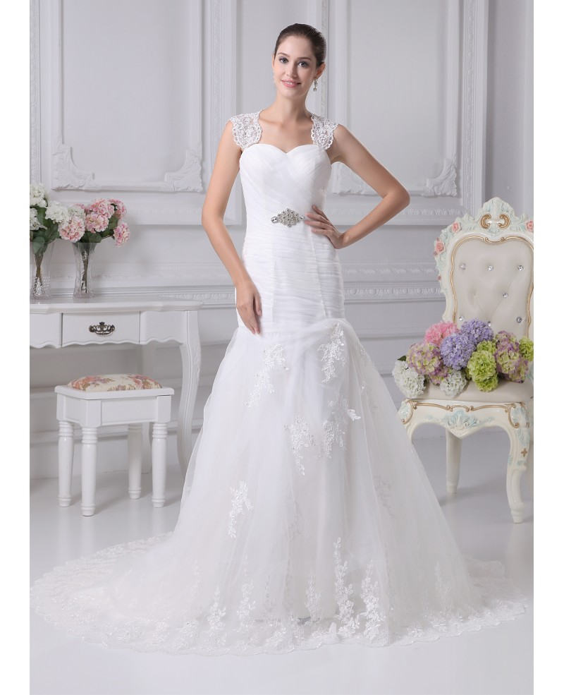 Beautiful Lace Straps Sheath Mermaid Tulle Train Length Wedding Dress