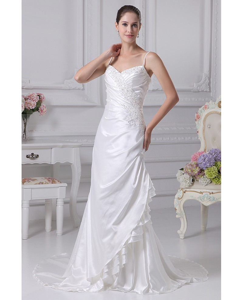 Side Beaded Silky Satin Long Wedding Dress with Spaghetti Straps