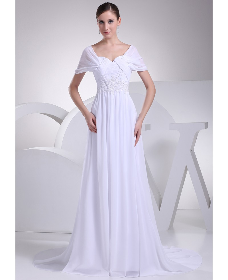 Beaded Empire Waist Long Chiffon White Wedding Dress with Sleeves