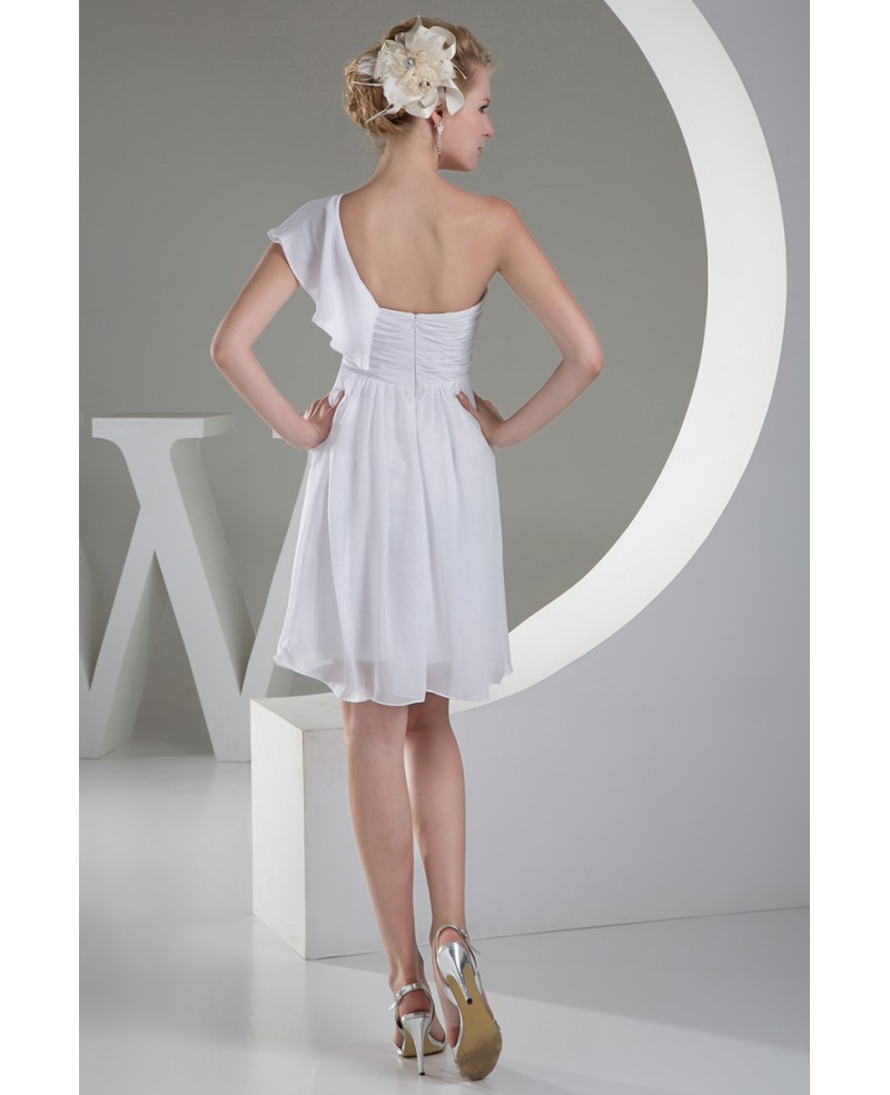 Simple A-line One Shoulder Short Wedding Dress in Chiffon