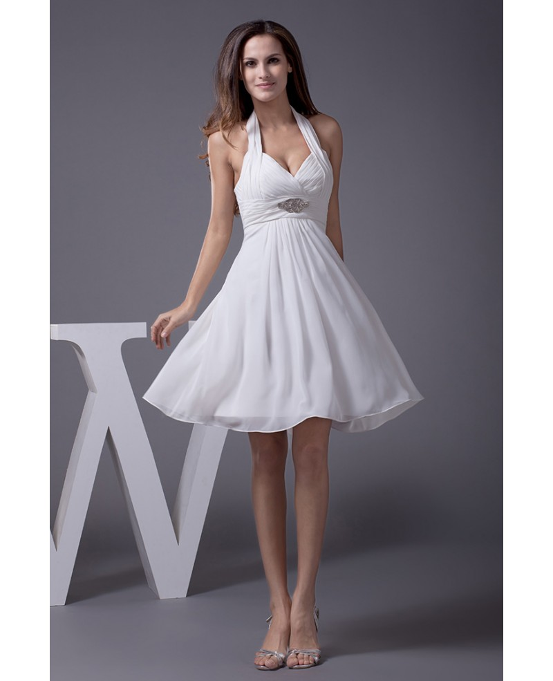 Cute Short Halter Chiffon Wedding Dress With Crystalswd11994