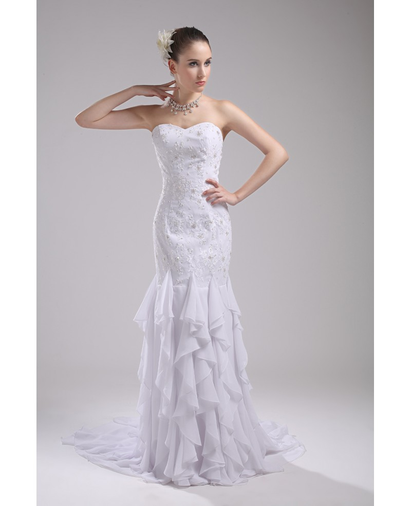 Cascading Ruffle Fitted Mermaid White Wedding Dress